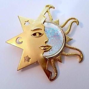 Vintage JJ Sun Moon Stars Celestial Pin Brooch